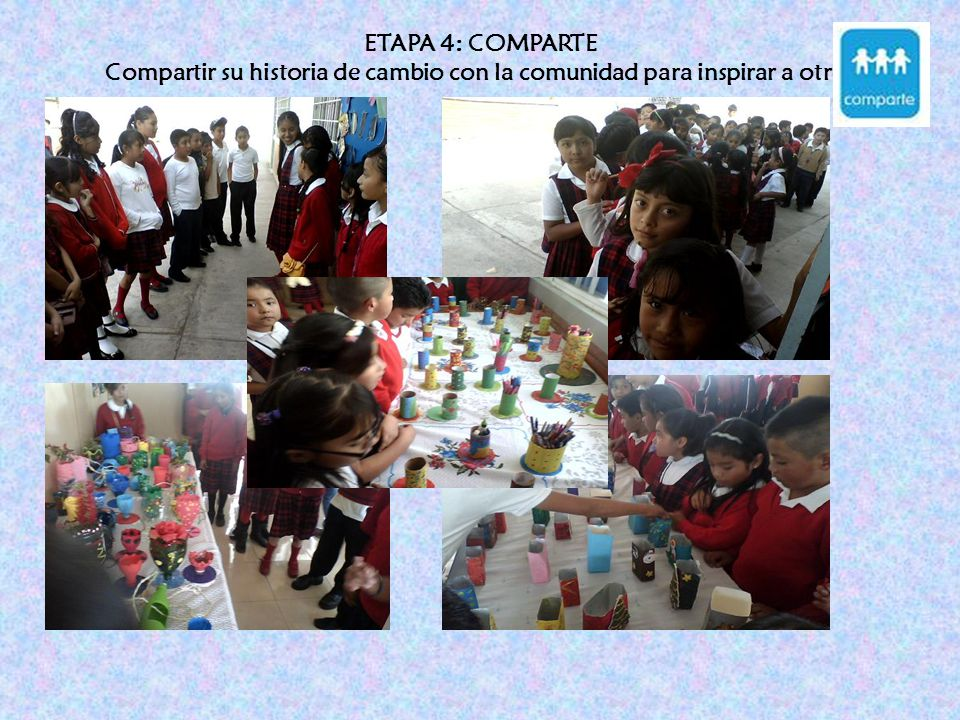ETAPA 4: COMPARTE Compartir su historia de cambio con la comunidad para inspirar a otros