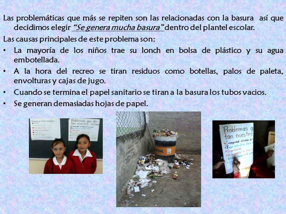 Las problemáticas que más se repiten son las relacionadas con la basura así que decidimos elegir Se genera mucha basura dentro del plantel escolar.