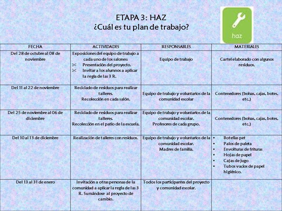 ETAPA 3: HAZ ¿Cuál es tu plan de trabajo