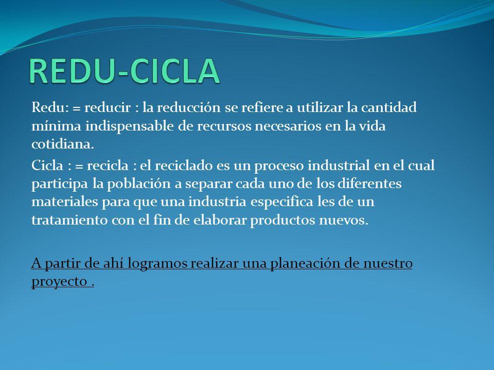 REDU-CICLA Redu: = reducir : la reducción se refiere a utilizar la cantidad mínima indispensable de recursos necesarios en la vida cotidiana.