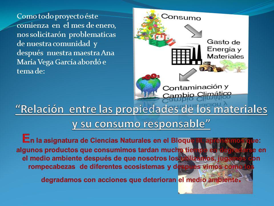 Como todo proyecto éste comienza en el mes de enero, nos solicitarón problematicas de nuestra comunidad y después nuestra maestra Ana María Vega García abordó e tema de: