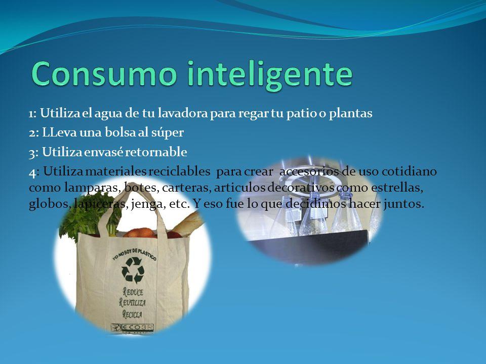 Consumo inteligente 1: Utiliza el agua de tu lavadora para regar tu patio o plantas. 2: LLeva una bolsa al súper.