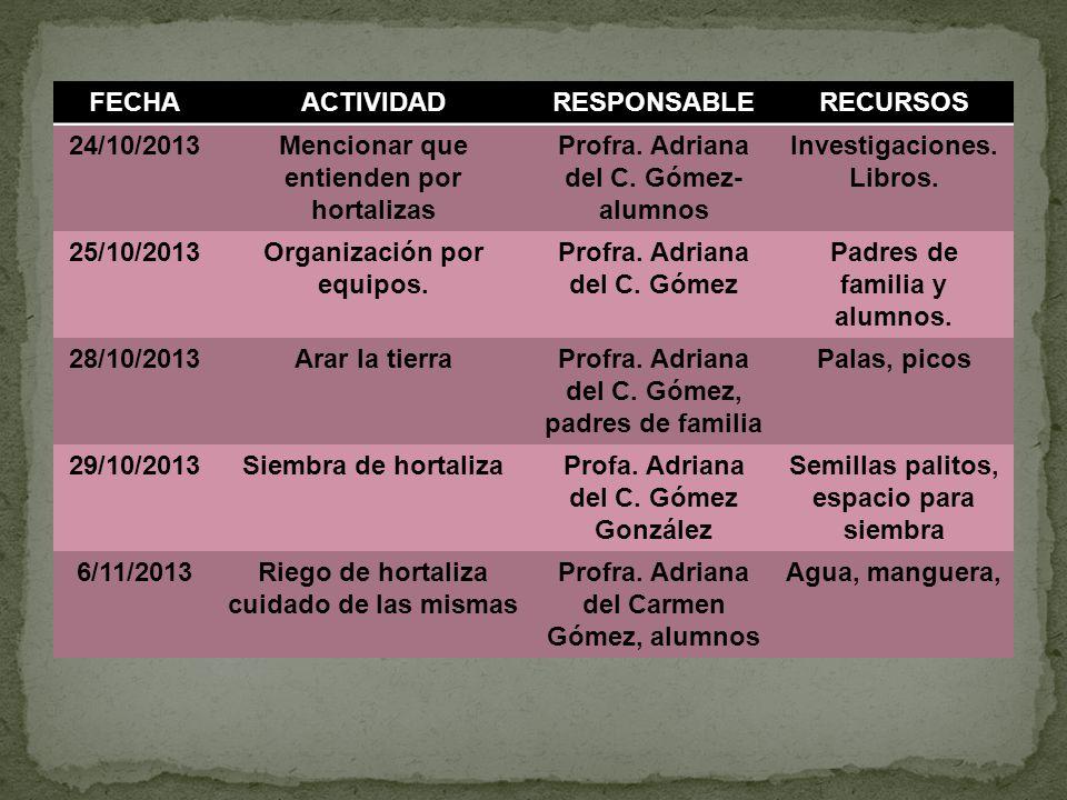 Mencionar que entienden por hortalizas Profra. Adriana del C. Gómez-