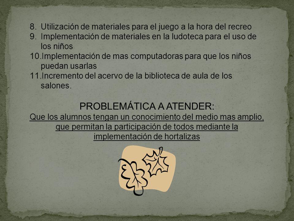 PROBLEMÁTICA A ATENDER: