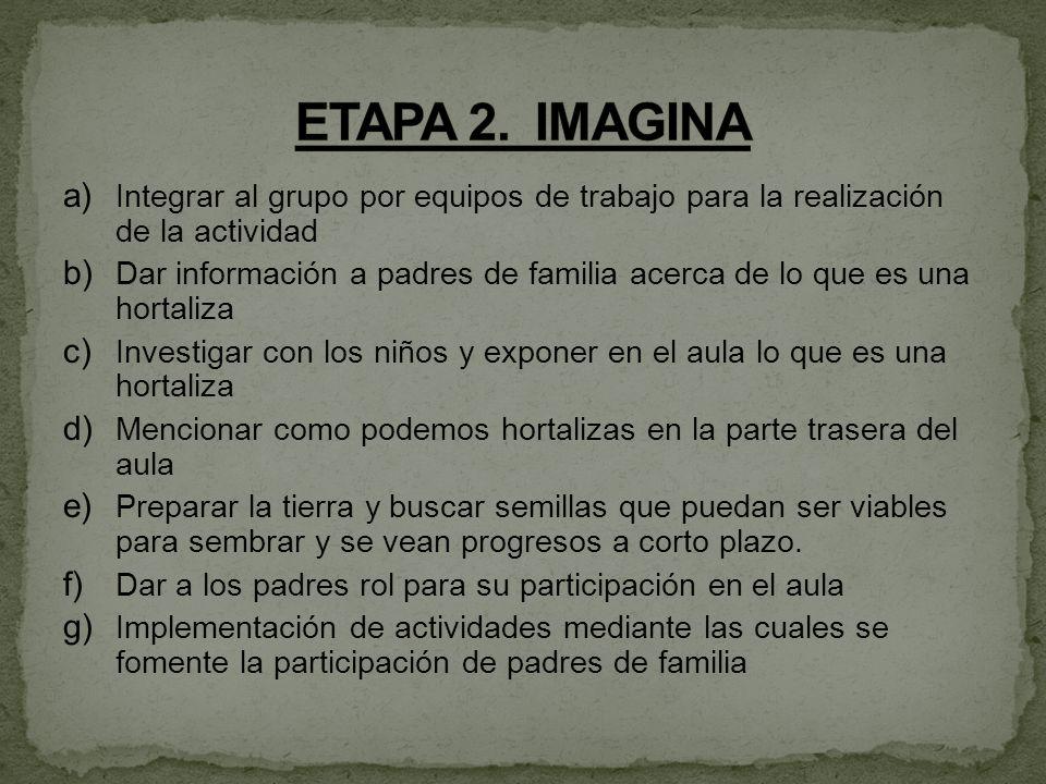 ETAPA 2. IMAGINA Integrar al grupo por equipos de trabajo para la realización de la actividad.
