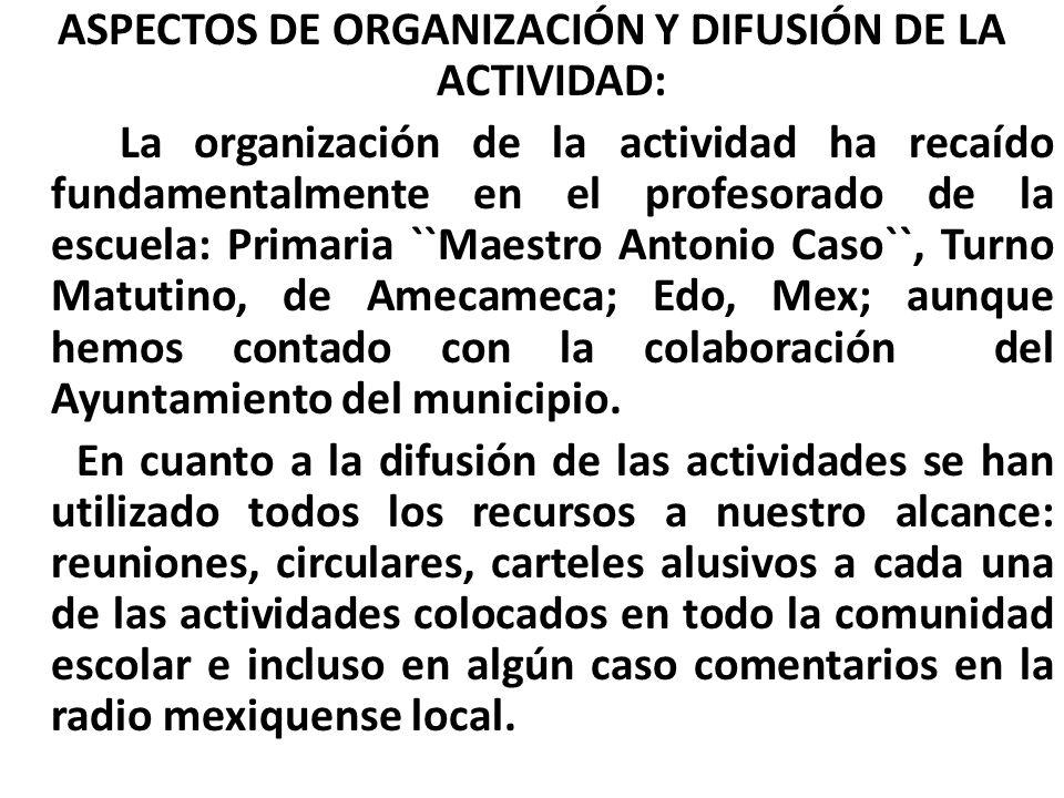 ASPECTOS DE ORGANIZACIÓN Y DIFUSIÓN DE LA ACTIVIDAD: