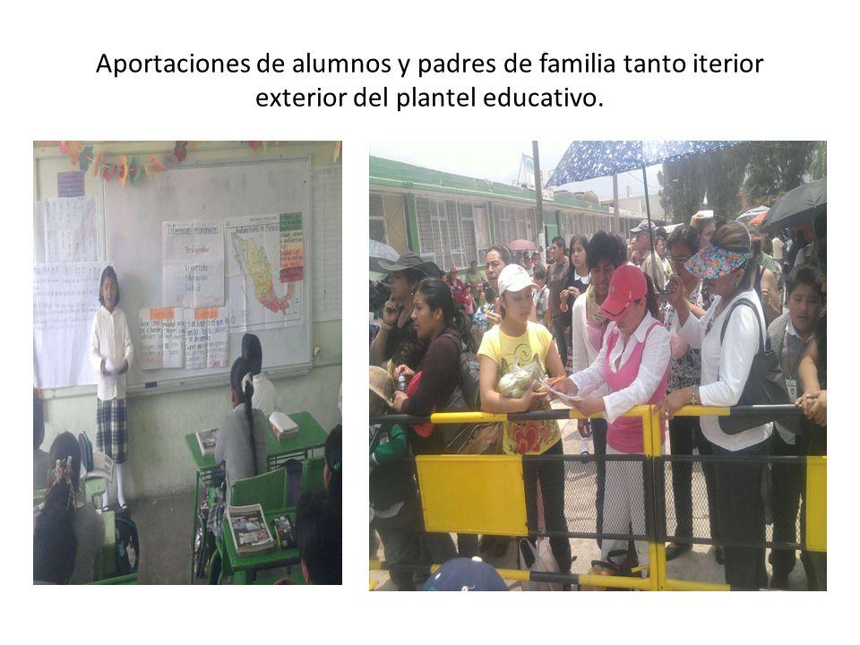 Aportaciones de alumnos y padres de familia tanto iterior exterior del plantel educativo.