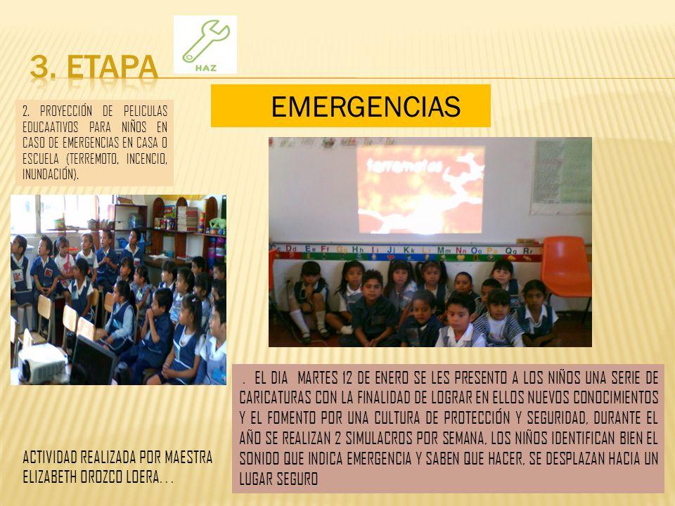 3. ETAPA EMERGENCIAS. 2. PROYECCIÓN DE PELICULAS EDUCAATIVOS PARA NIÑOS EN CASO DE EMERGENCIAS EN CASA O ESCUELA (TERREMOTO, INCENCIO, INUNDACIÓN).