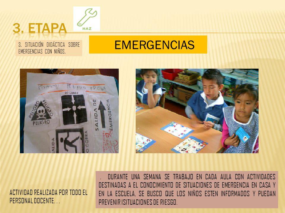 3. ETAPA EMERGENCIAS. 3. SITUACIÓN DIDÁCTICA SOBRE EMERGENCIAS CON NIÑOS.