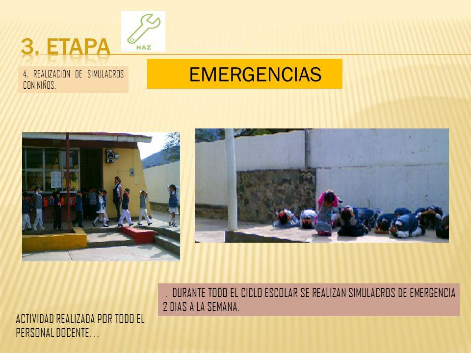 3. ETAPA EMERGENCIAS. 4. REALIZACIÓN DE SIMULACROS CON NIÑOS.