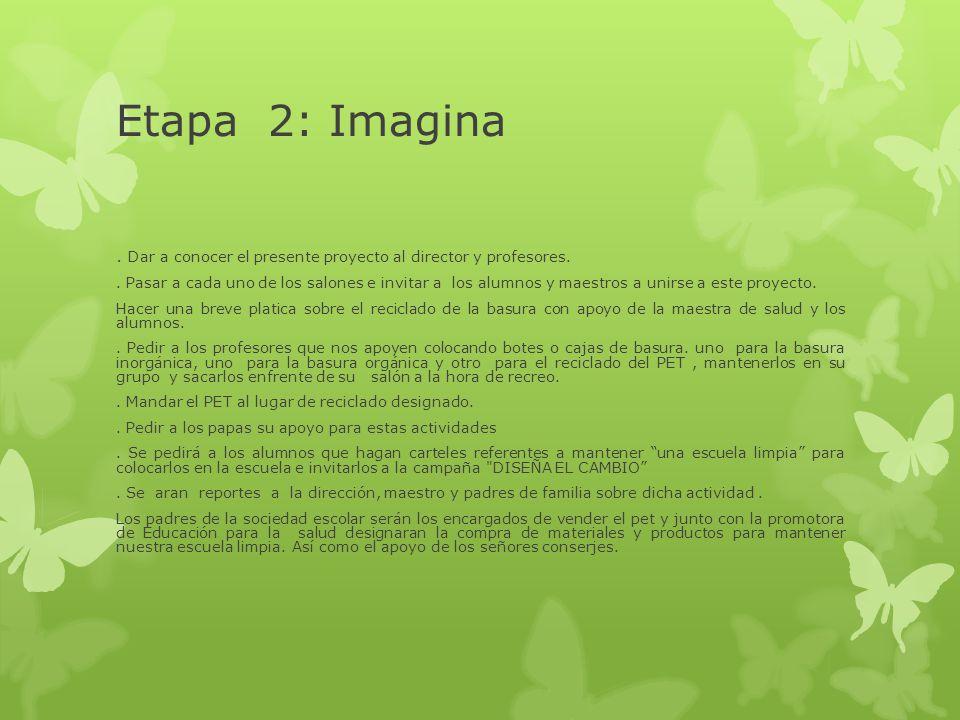 Etapa 2: Imagina . Dar a conocer el presente proyecto al director y profesores.