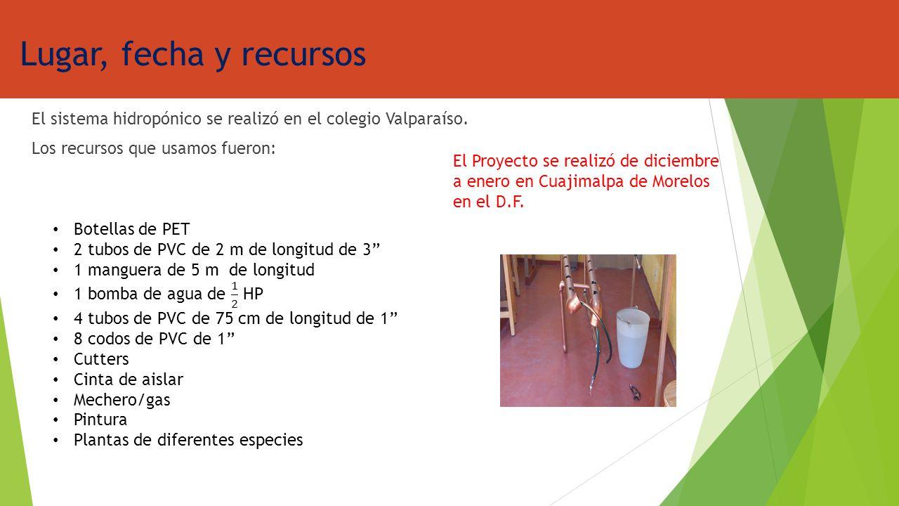 Lugar, fecha y recursos El sistema hidropónico se realizó en el colegio Valparaíso. Los recursos que usamos fueron: