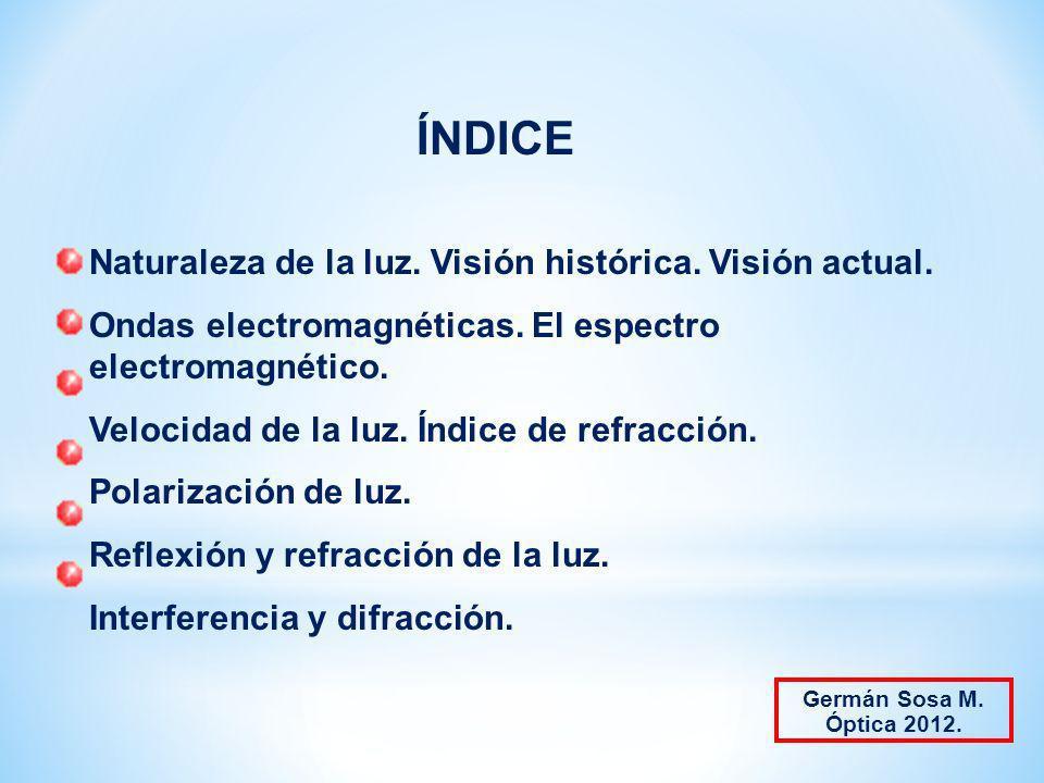 ÍNDICE Naturaleza de la luz. Visión histórica. Visión actual.
