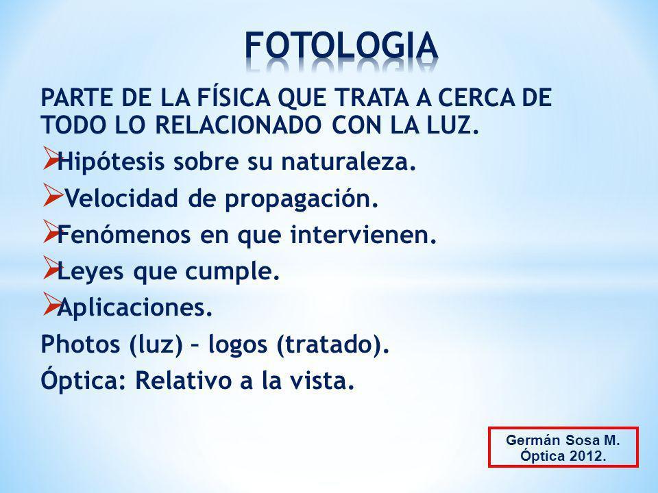 FOTOLOGIA PARTE DE LA FÍSICA QUE TRATA A CERCA DE TODO LO RELACIONADO CON LA LUZ. Hipótesis sobre su naturaleza.
