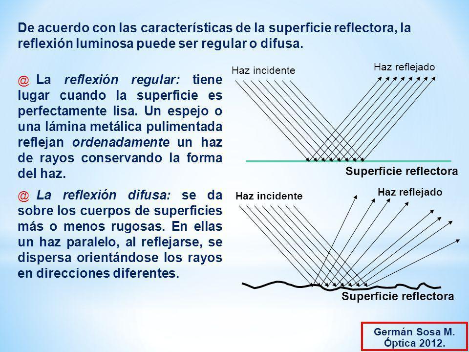 De acuerdo con las características de la superficie reflectora, la reflexión luminosa puede ser regular o difusa.