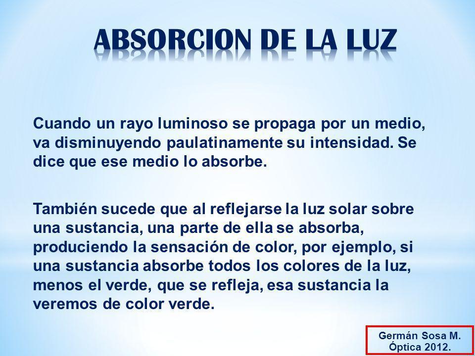 ABSORCION DE LA LUZ Cuando un rayo luminoso se propaga por un medio, va disminuyendo paulatinamente su intensidad. Se dice que ese medio lo absorbe.