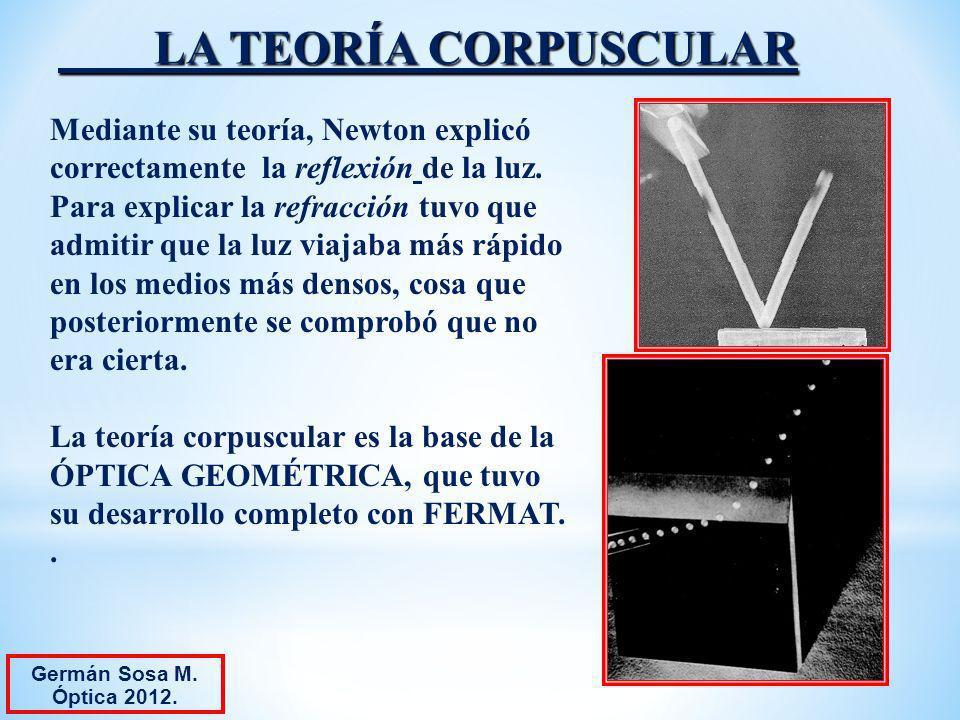 LA TEORÍA CORPUSCULAR Mediante su teoría, Newton explicó
