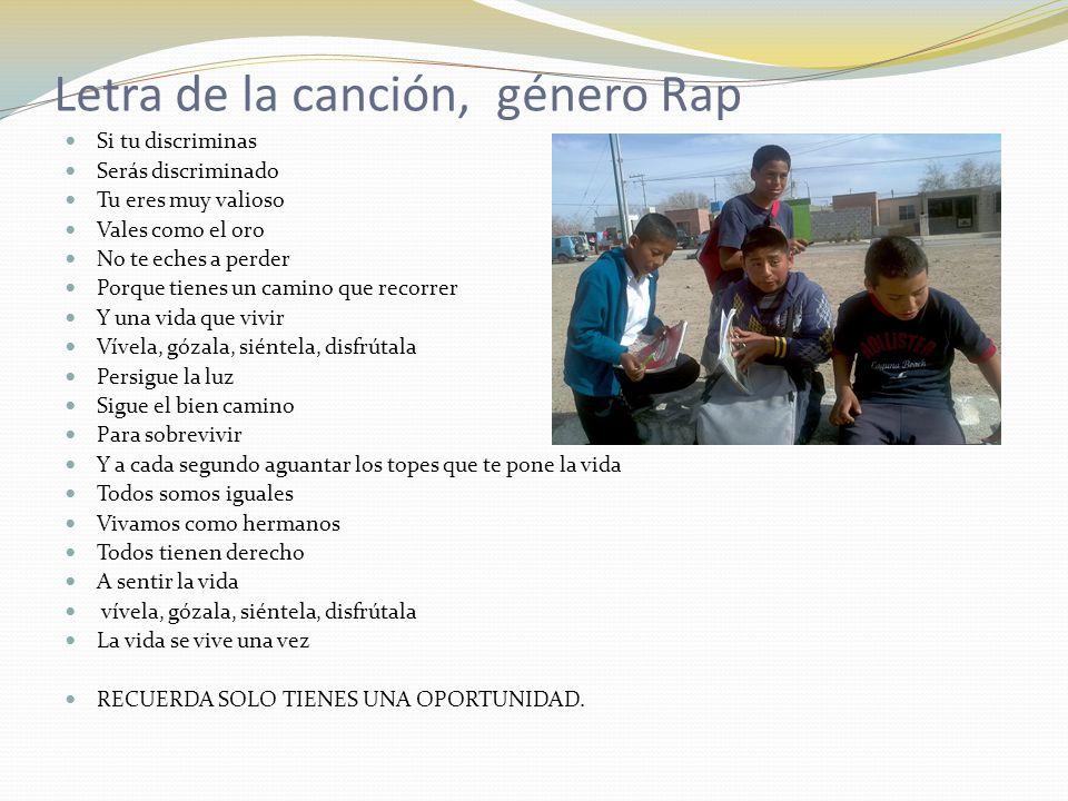 Letra de la canción, género Rap