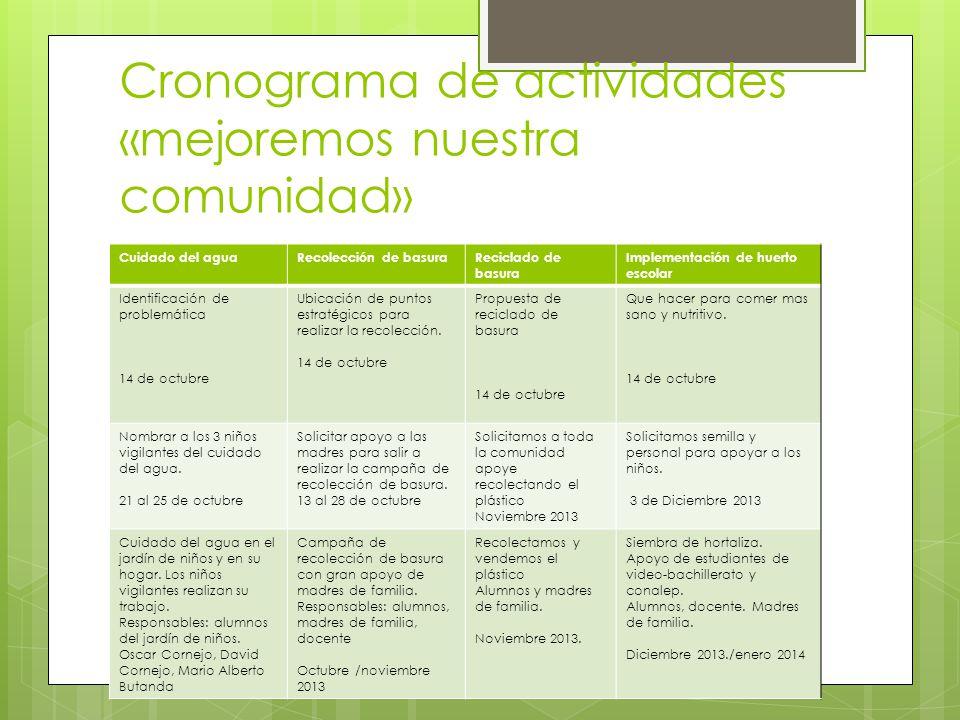 Cronograma de actividades «mejoremos nuestra comunidad»