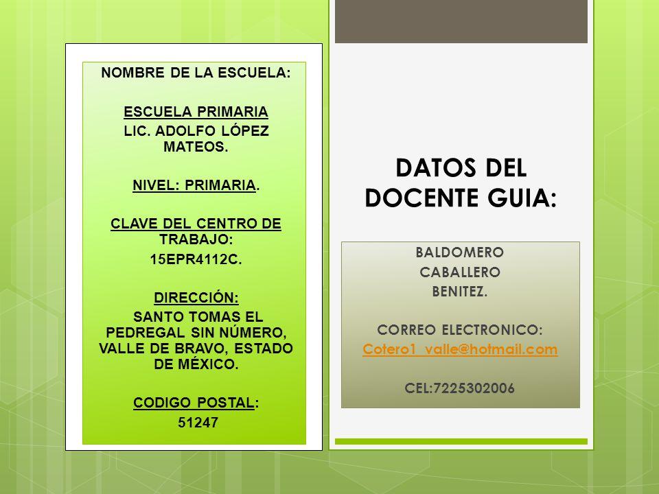 DATOS DEL DOCENTE GUIA: