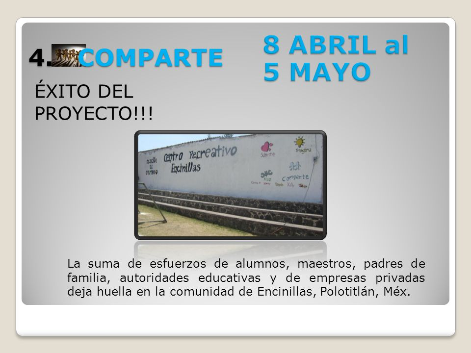8 ABRIL al 5 MAYO 4. COMPARTE ÉXITO DEL PROYECTO!!!