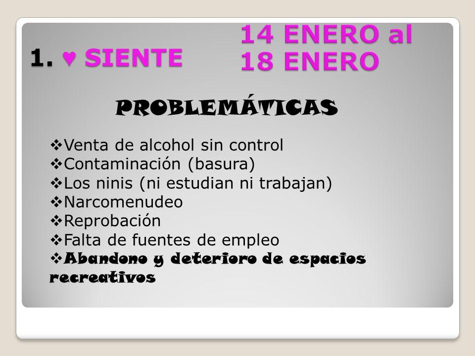 14 ENERO al 18 ENERO 1. ♥ SIENTE PROBLEMÁTICAS