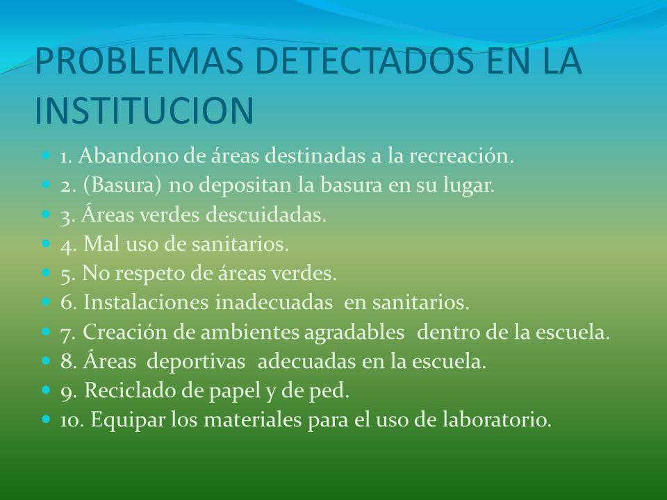 PROBLEMAS DETECTADOS EN LA INSTITUCION