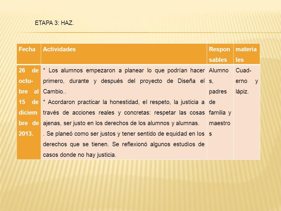 ETAPA 3: HAZ. Fecha. Actividades. Responsables. materiales. 26 de octu-bre al 15 de diciembre de 2013.