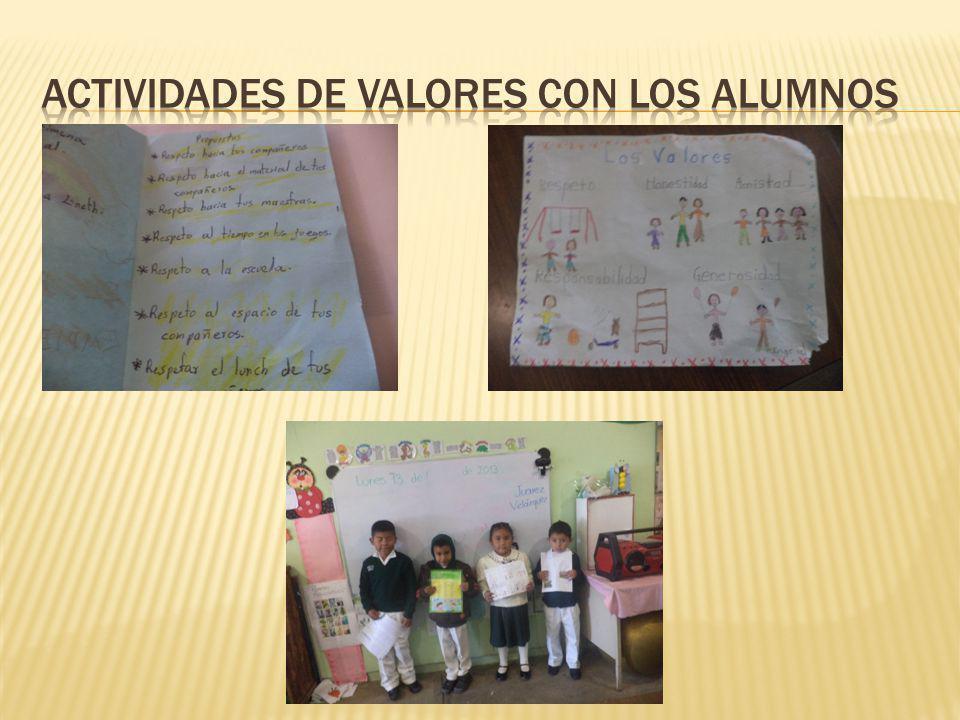 Actividades de valores con los alumnos