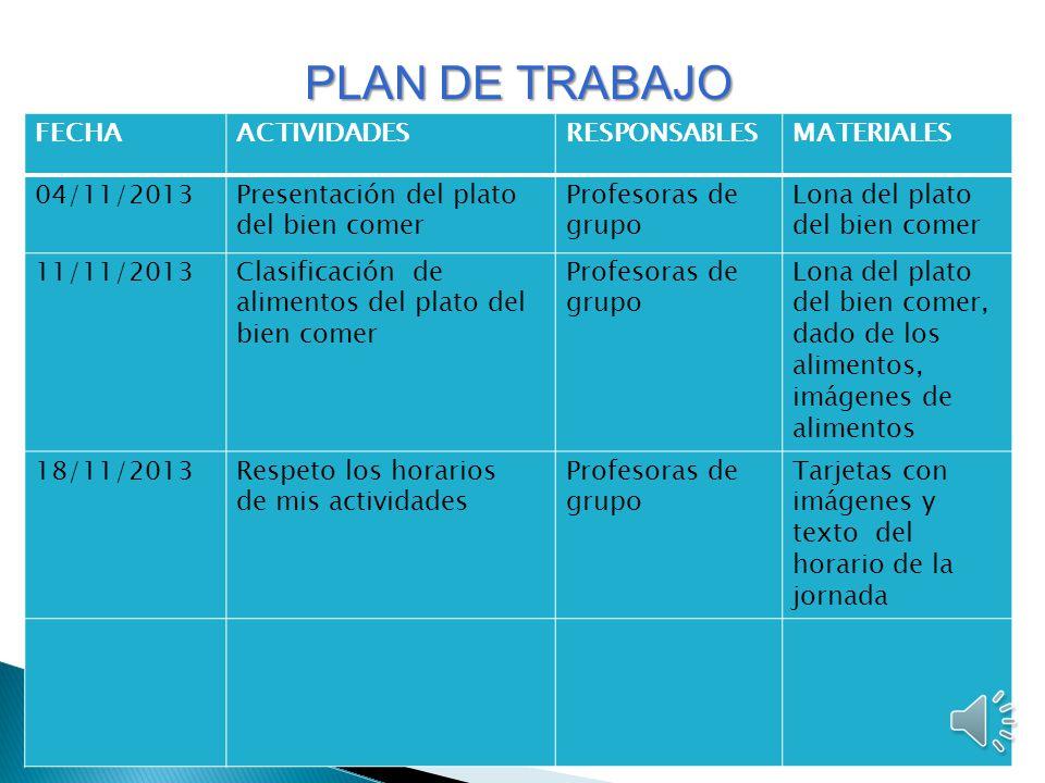 PLAN DE TRABAJO FECHA ACTIVIDADES RESPONSABLES MATERIALES 04/11/2013