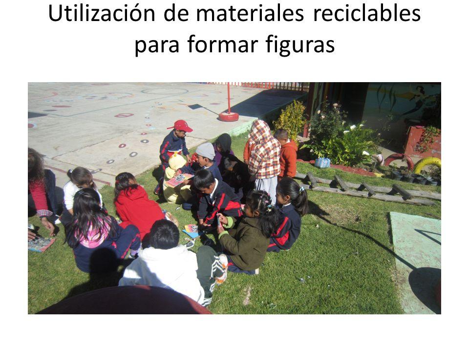 Utilización de materiales reciclables para formar figuras