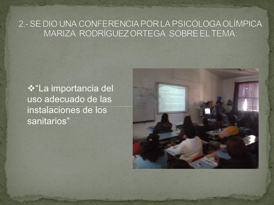 2.- SE DIO UNA CONFERENCIA POR LA PSICÓLOGA OLÍMPICA MARIZA RODRÍGUEZ ORTEGA SOBRE EL TEMA: