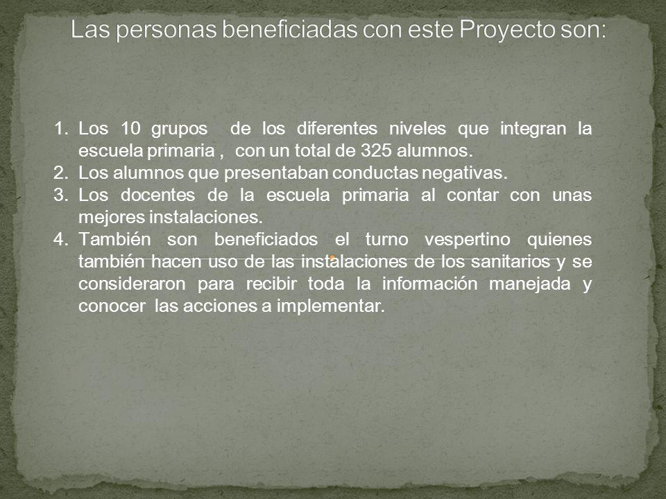 Las personas beneficiadas con este Proyecto son: