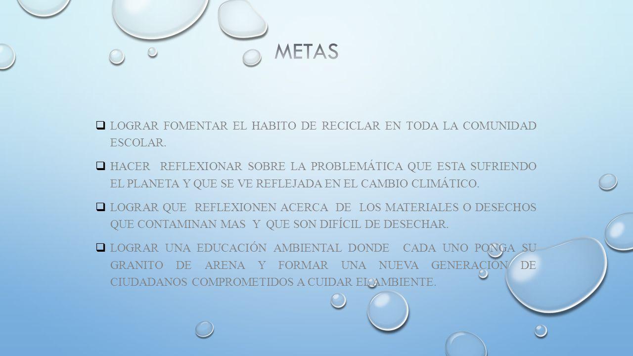 METAS LOGRAR FOMENTAR EL HABITO DE RECICLAR EN TODA LA COMUNIDAD ESCOLAR.