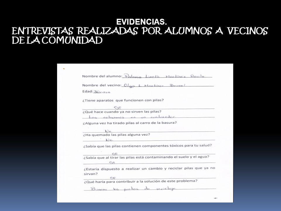 EVIDENCIAS. ENTREVISTAS REALIZADAS POR ALUMNOS A VECINOS DE LA COMUNIDAD