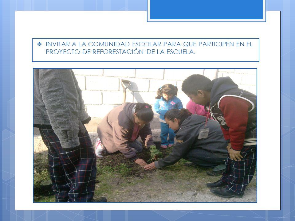 INVITAR A LA COMUNIDAD ESCOLAR PARA QUE PARTICIPEN EN EL PROYECTO DE REFORESTACIÓN DE LA ESCUELA.