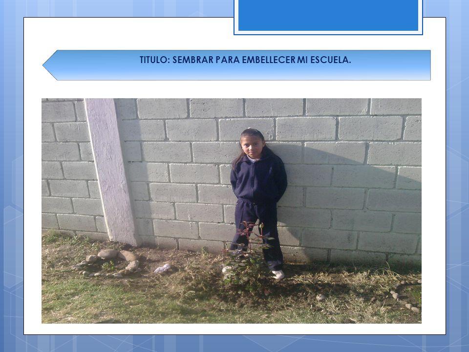 TITULO: SEMBRAR PARA EMBELLECER MI ESCUELA.