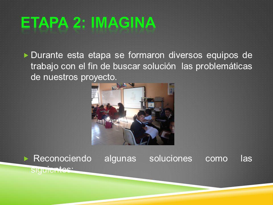 ETAPA 2: IMAGINA Durante esta etapa se formaron diversos equipos de trabajo con el fin de buscar solución las problemáticas de nuestros proyecto.