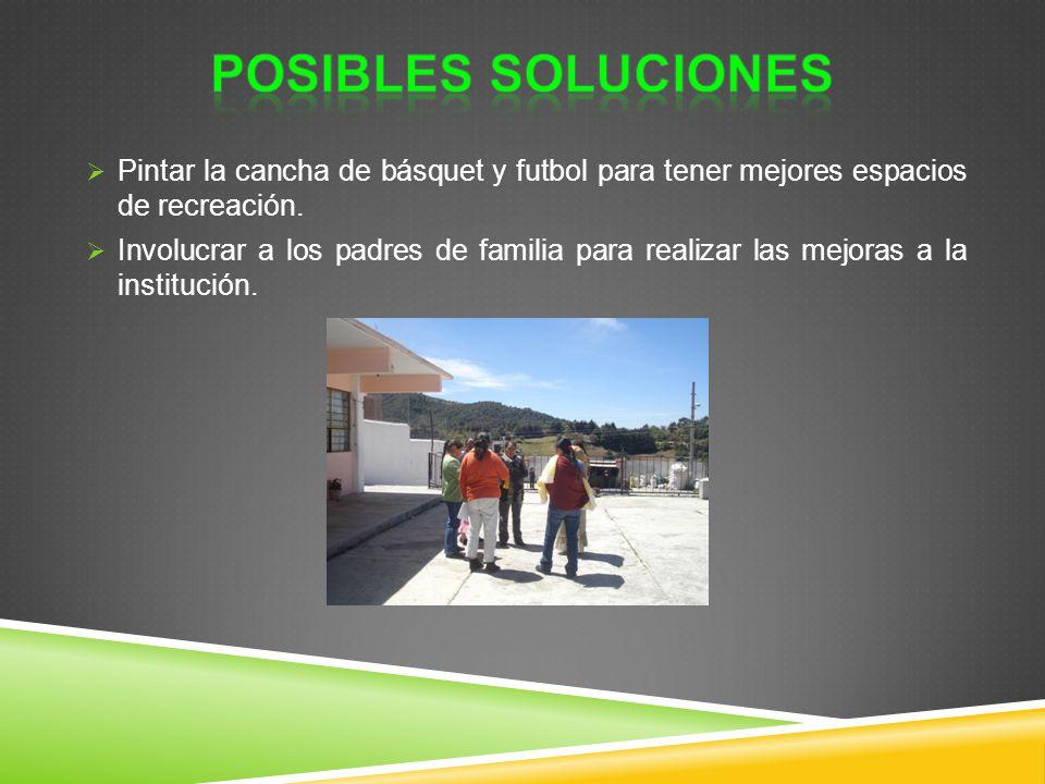 POSIBLES SOLUCIONES Pintar la cancha de básquet y futbol para tener mejores espacios de recreación.