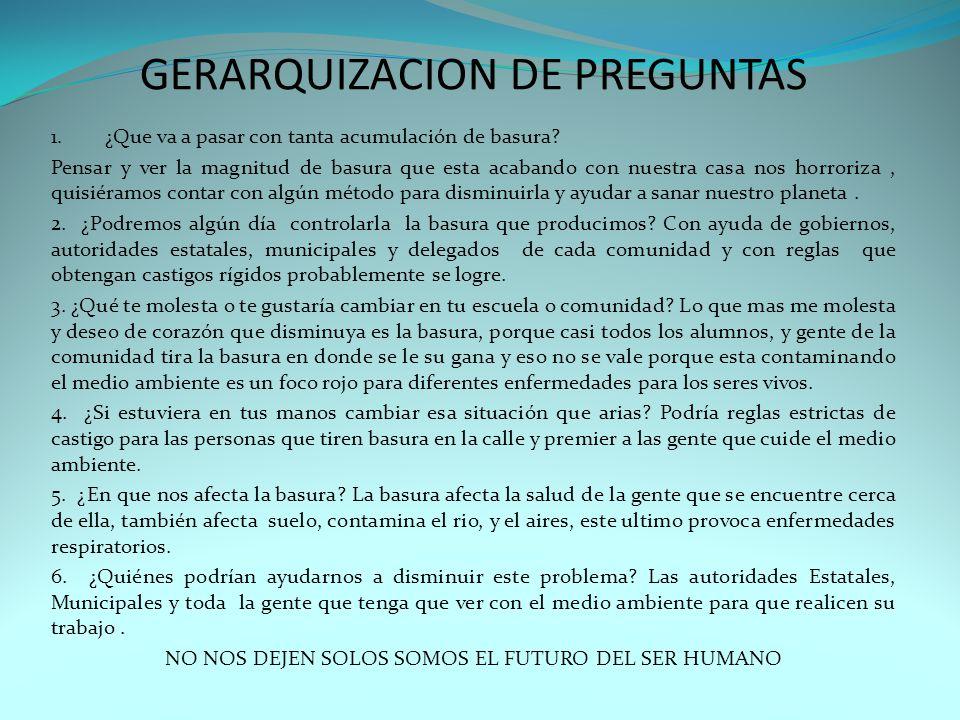 GERARQUIZACION DE PREGUNTAS