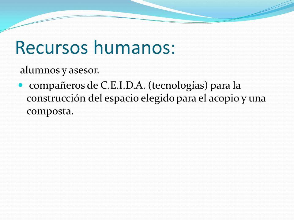Recursos humanos: alumnos y asesor.