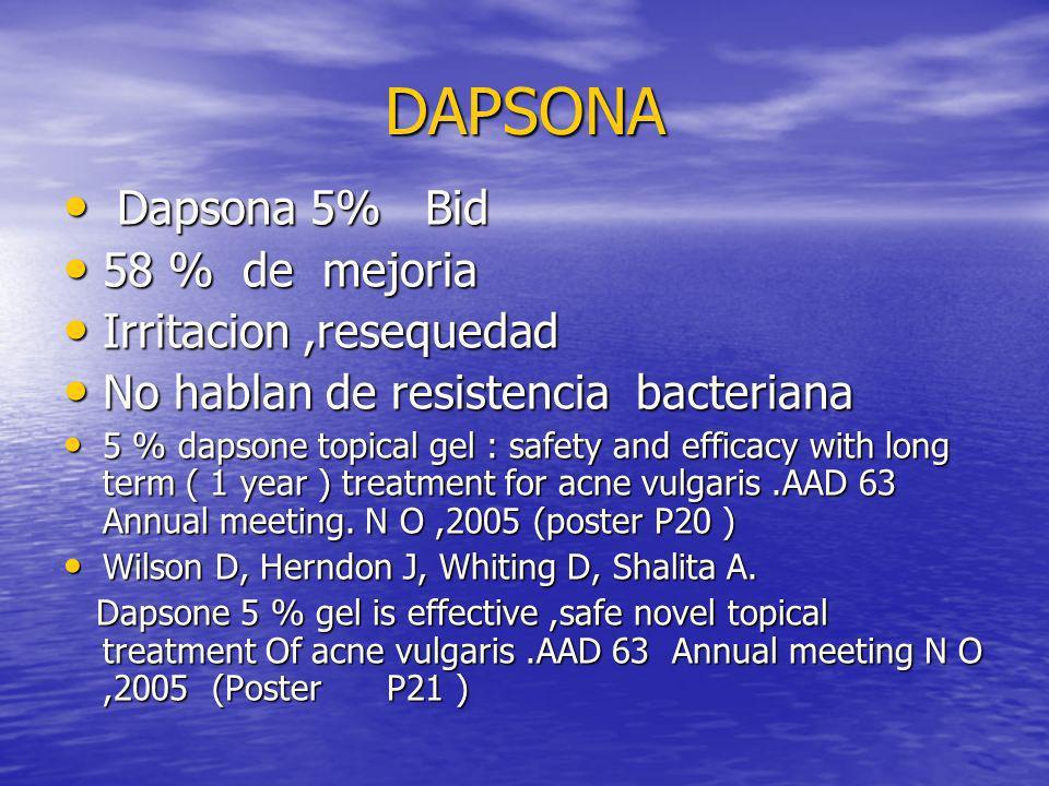 DAPSONA Dapsona 5% Bid 58 % de mejoria Irritacion ,resequedad