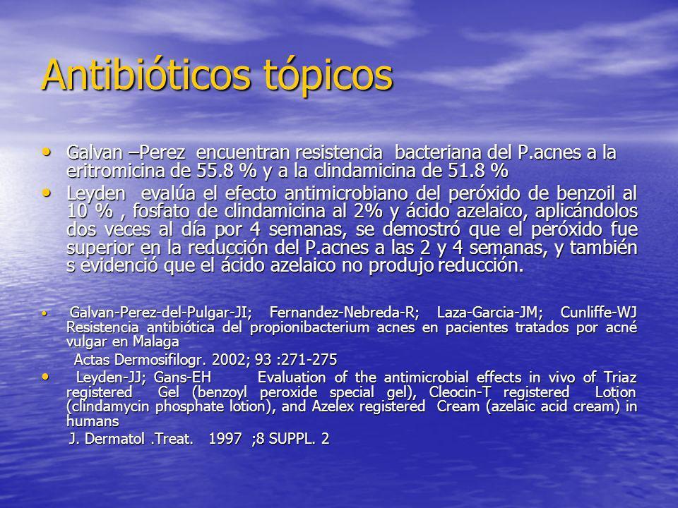 Antibióticos tópicosGalvan –Perez encuentran resistencia bacteriana del P.acnes a la eritromicina de 55.8 % y a la clindamicina de 51.8 %