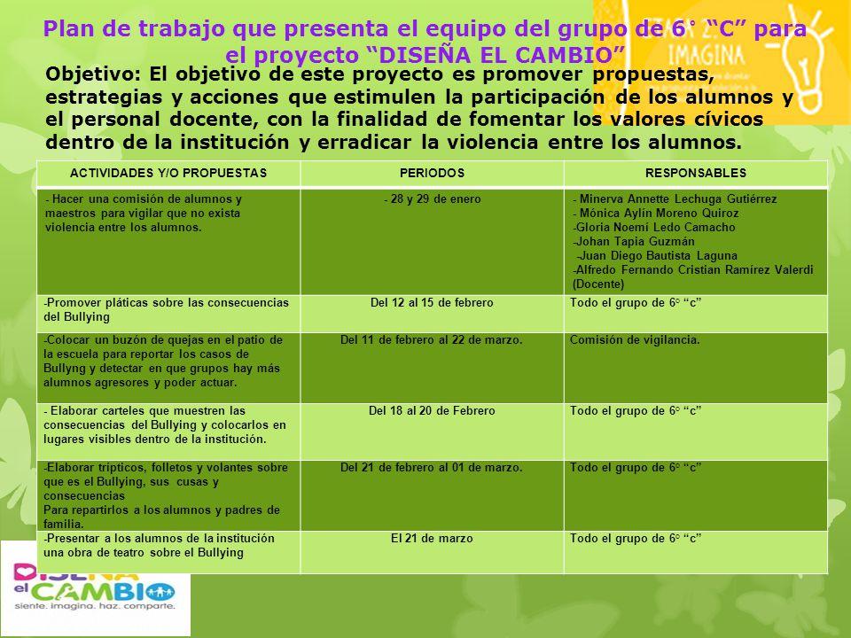 Plan de trabajo que presenta el equipo del grupo de 6° C para el proyecto DISEÑA EL CAMBIO