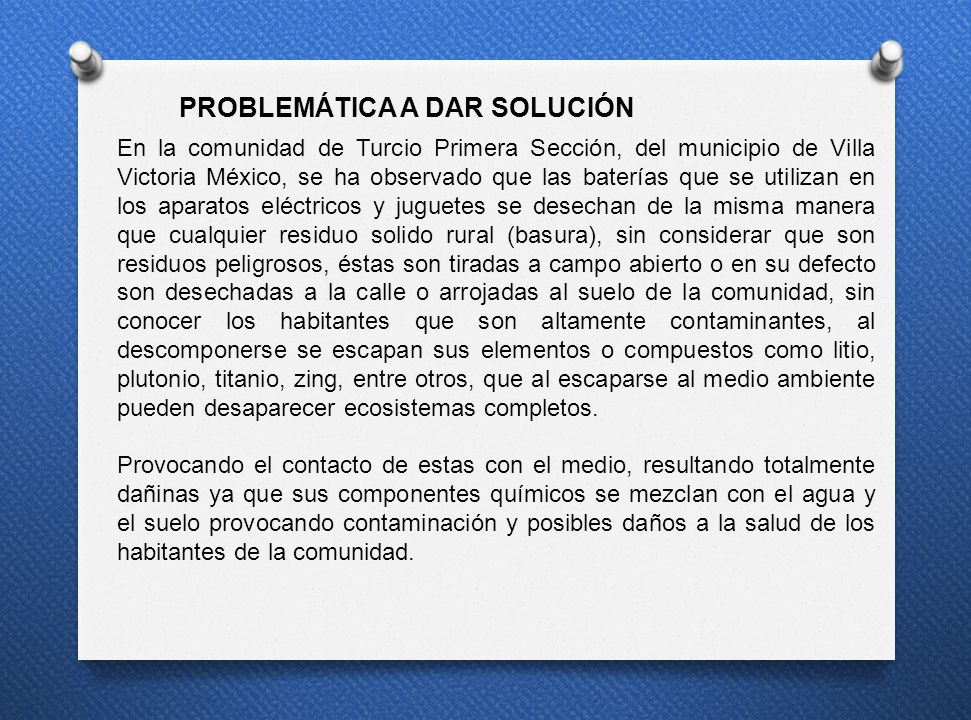 PROBLEMÁTICA A DAR SOLUCIÓN