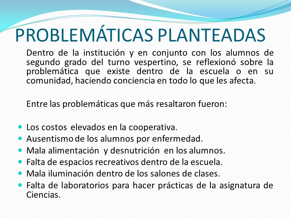 PROBLEMÁTICAS PLANTEADAS