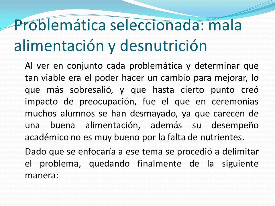 Problemática seleccionada: mala alimentación y desnutrición