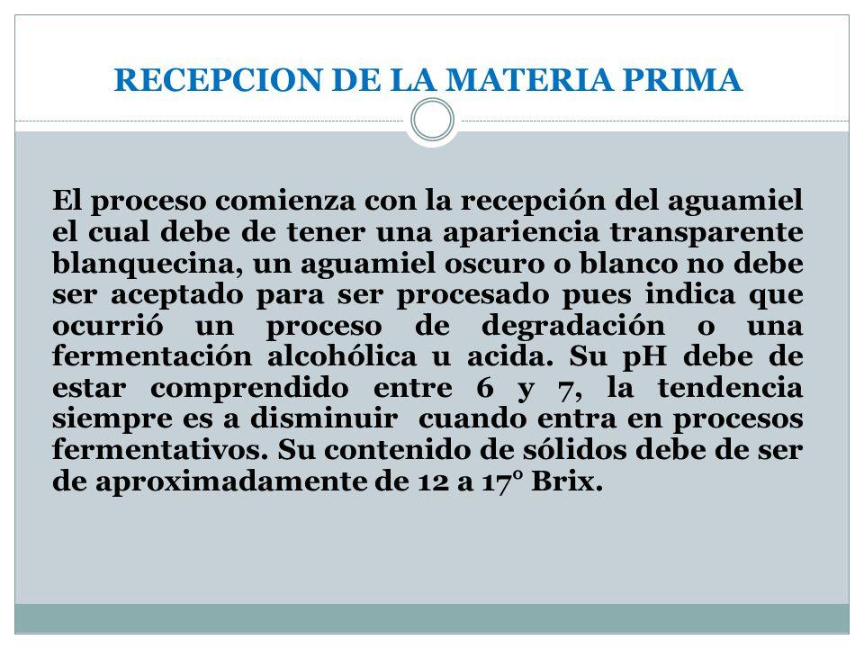RECEPCION DE LA MATERIA PRIMA