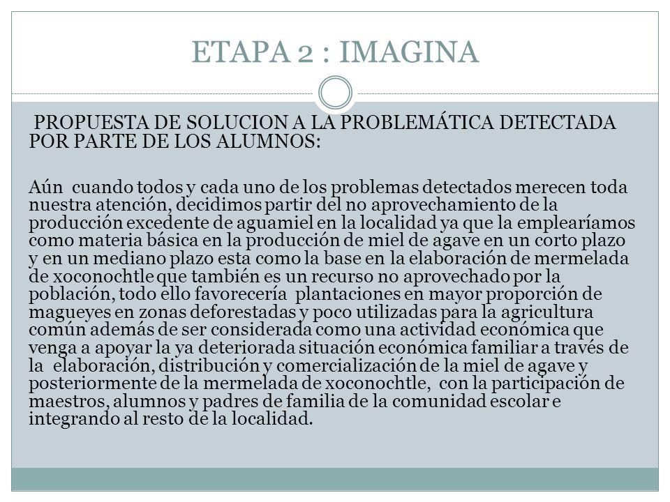 ETAPA 2 : IMAGINA PROPUESTA DE SOLUCION A LA PROBLEMÁTICA DETECTADA POR PARTE DE LOS ALUMNOS: