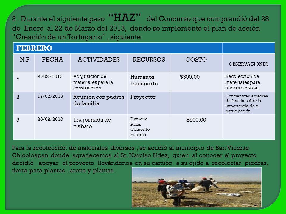3 . Durante el siguiente paso HAZ del Concurso que comprendió del 28 de Enero al 22 de Marzo del 2013, donde se implemento el plan de acción Creación de un Tortugario , siguiente:
